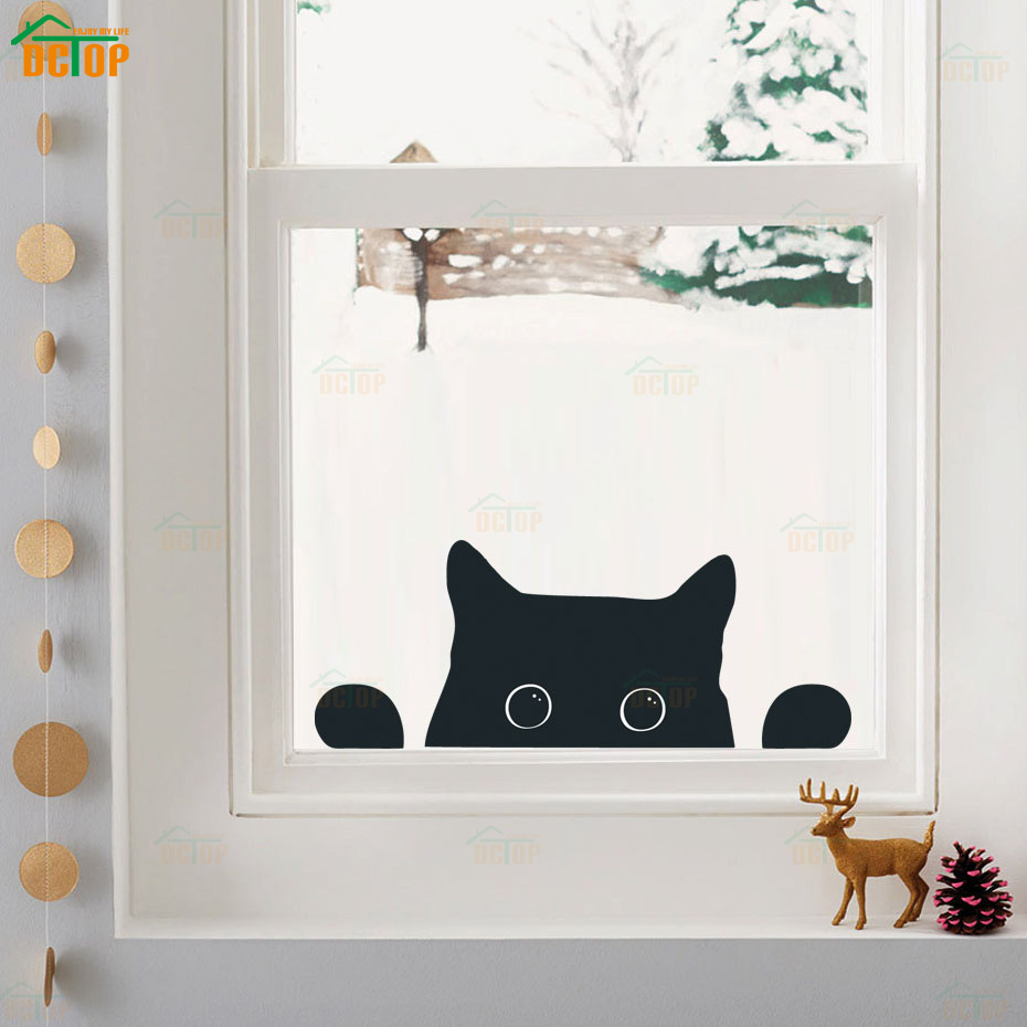Removable Wall Art Nursery  Mural Wall Stickers Kitten Shape Decal 6 Black Cats