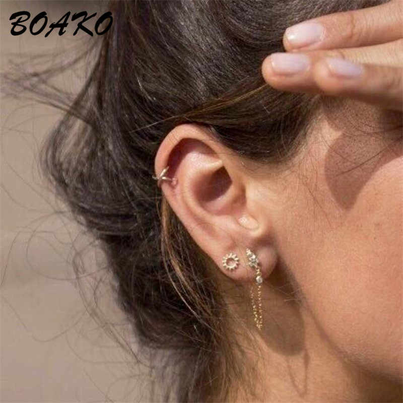 Hot Tiny Women 925 Sterling Silver 5 Pointed Star Frosted Ear Stud Earrings