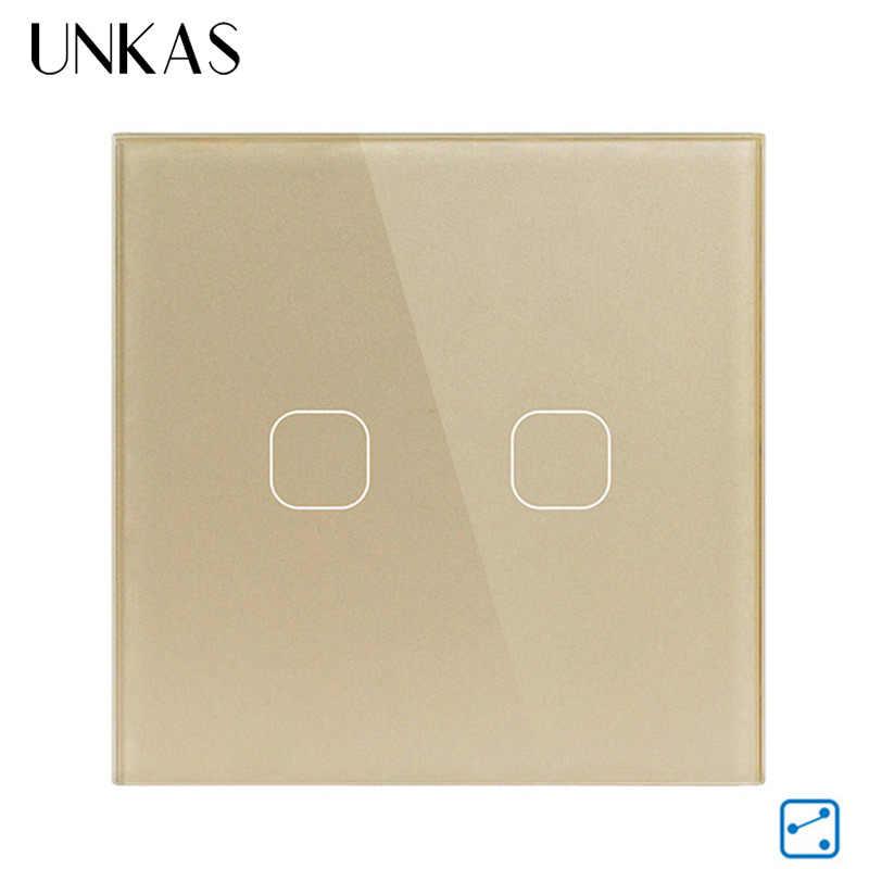 UNKAS ab standart ışık dokunmatik anahtarı 1/2 Gang 2 yollu kontrol dokunmatik ekran anahtarı, kristal cam Panel dokunmatik duvar anahtarı