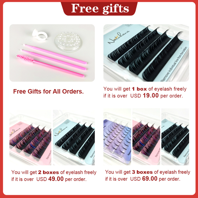 NATUHANA Ombre Blue Purple Red Brown Green Color Eyelash Extension Individual Synthetic Mink Gradient Color EyeLashes False Lash 1