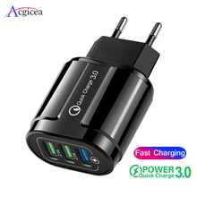 For iPhone USB Charger Quick Charge 3.0 EU/US Plug QC3.0 Fast Charging For Samsung S9 Huawei Xiaomi Charger Mobile Phone Adapter quick charge 3 0 usb charger travel for iphone samsung micro usb type c fast charging 3 ports eu us plug mobile phone charge