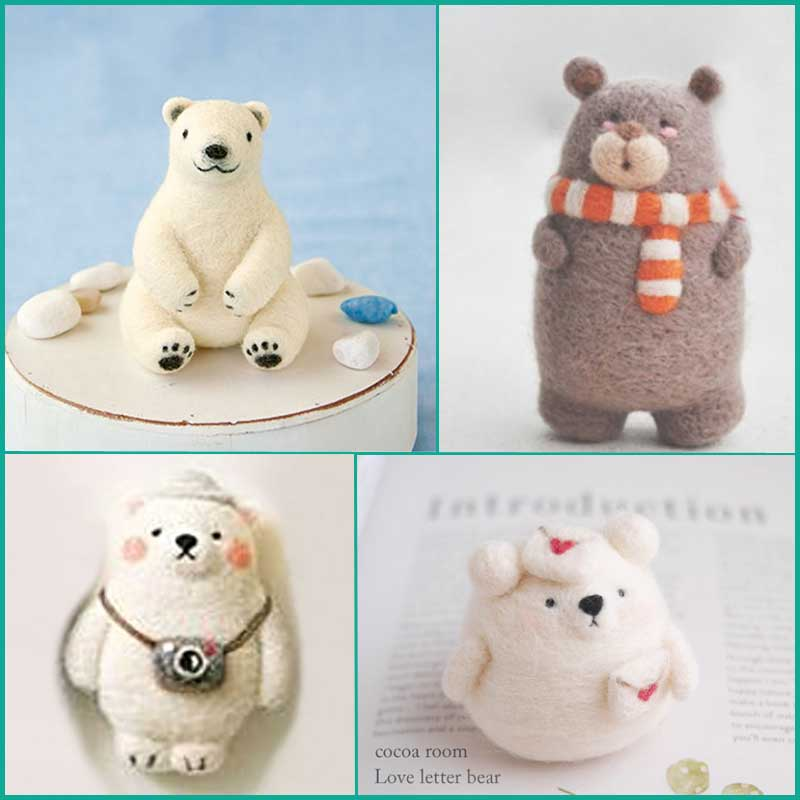 Fashion Bear wool needle poked felting kit Package Non finished DIY Handmade Cute Animal Bear Toy Doll for Kids Girls Gift