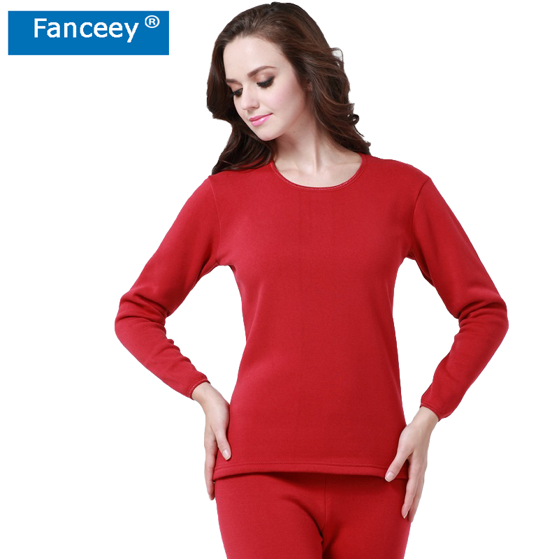 Fanceey O Neck Shirt Base Women Thermal Underwear Witner Warm Long Johns For Women Thermal Clothing Female 2pcs Thermal Suit