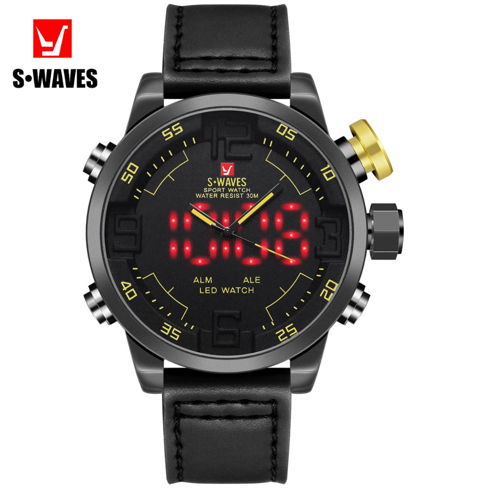 Men Watches Dual Display 2020 New brand luxury Quartz Watches Fashion Leather Waterproof Watch for gentleman Students simple