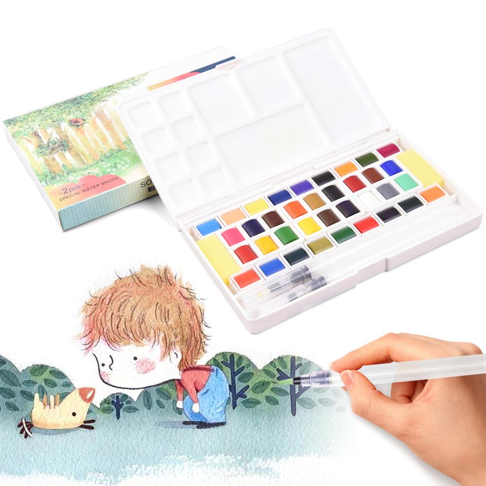 Solid Pigment Watercolor Paints Set Aquarelle With Water Color Portable Brush Pen Aquarel For Professional Painting Art Supplies