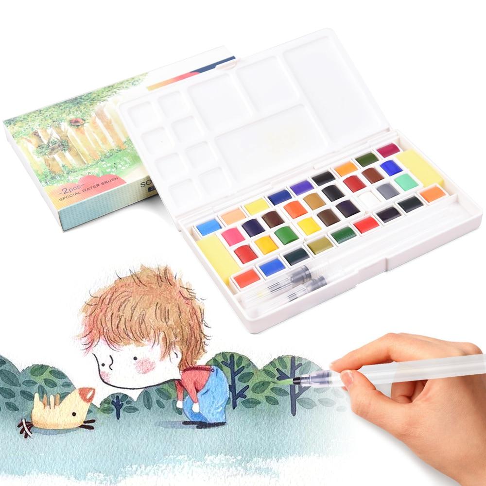 Solid Pigment Watercolor Paints Set Aquarelle With Water Color Portable Brush Pen Aquarel For Professional Painting Art Supplies