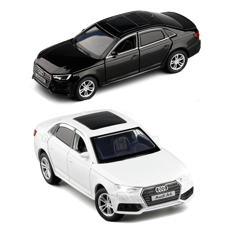 1/32 Scale Audi A4 Diecast Alloy Sport Model Car Toy Black White With Light And Sound For Baby Gifts Collection Toys V247 image