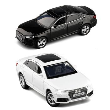 1/32 масштаб Audi A4 литой под давлением сплав спортивная модель автомобиля игрушка черный белый с светом и звуком для детской коллекции подарков игрушки V247