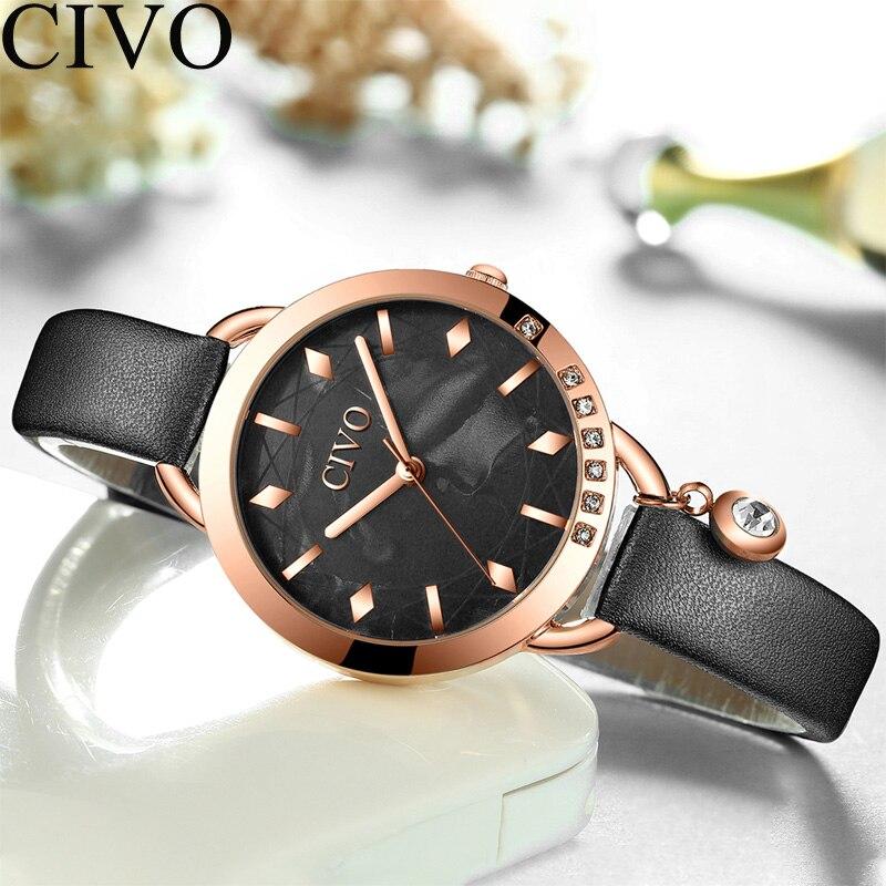 CIVO Fashion Watch Women Waterproof Quartz Watch Ladies Top Brand Luxury Female Watch Girl Leather Strap Clock Relogio Feminino in Women 39 s Watches from Watches