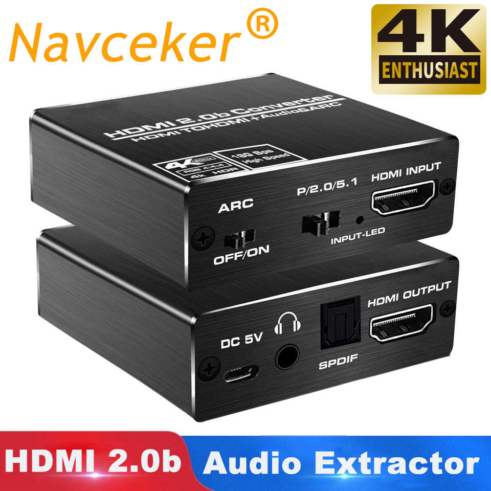 2020 Navceker 4K HDMI 2.0 Audio Extractor 5.1 ARC HDMI Audio Extractor Splitter HDMI Audio Extractor Ottico TOSLINK SPDIF
