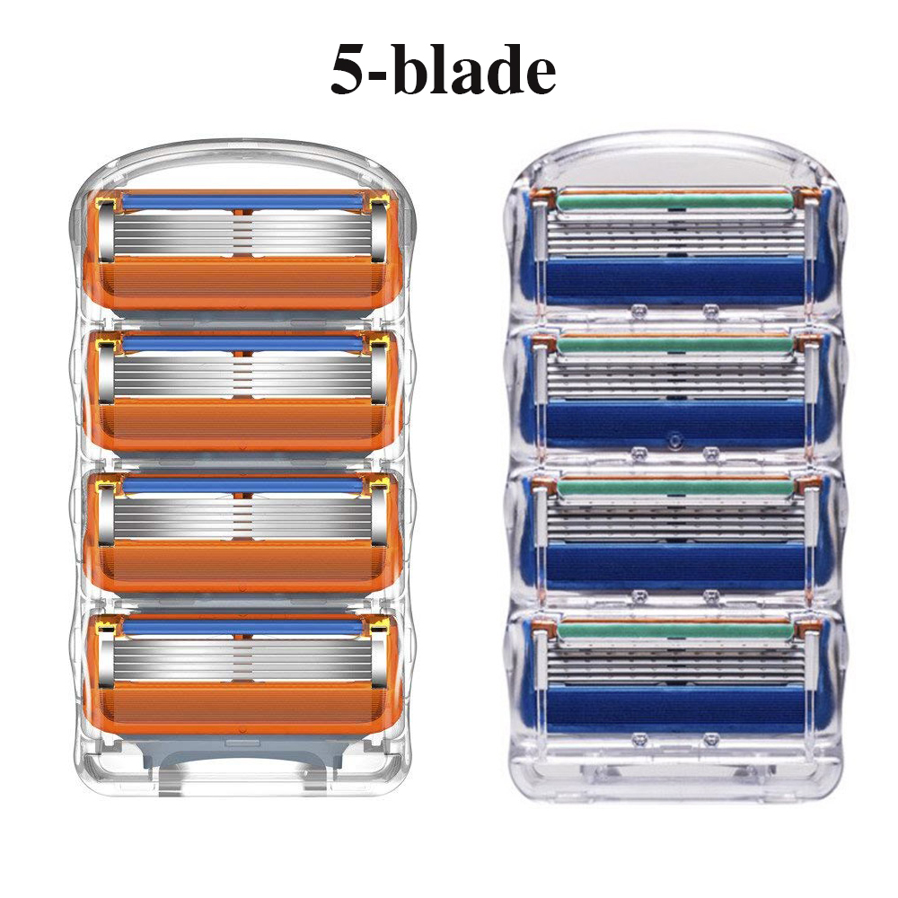 Ally 8pcs 5 Layers Men's Shaving Razor Blades Compatible For Gillettee Fusione Cassette Shaving Two Colors