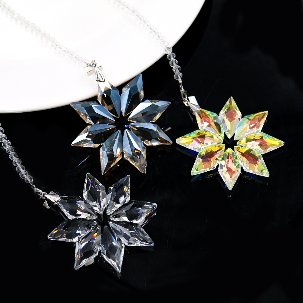 2019 NEW Snowflake Suncatcher Christmas Hanging Glass Decoration DIY Craft Pendant Prism Chandelier Crystal Parts Car Ornament