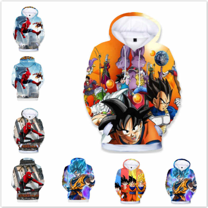 Baby Boys Cartoon Spiderman Iron Man Anime Dragon Ball Z Print Clothes Kids Hoodies Girls Sweatshirt Children Tops Tees Costumes