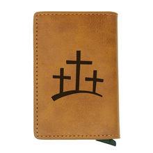 Vintage Brown Christianity Cross Card Holder Wallets Retro Classic Leather Men Women Mini Purse шлем для скейтборда pro tec classic matte brown retro