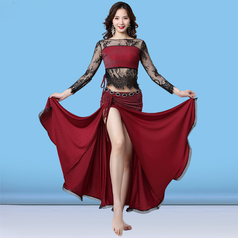 New Fashion Women Dance Clothes Belly Dance Costume Set Long Sleeves Floral Lace Top And Long Skirt