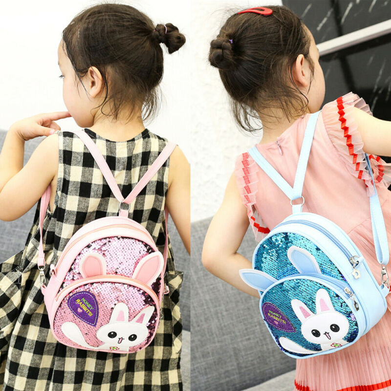 2020 New Cute Children Backpack Cartoon Animal Sequin School Bag Kids Girls Boys Rabbit Backpack Kindergarten Glitter Bling Bags