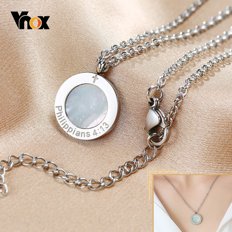 Vnox Round Shell Coin Pendant for Women, Philippians 4:13 Cross Christ Engraved Necklaces, Simple Elegant Natural Neck Collar