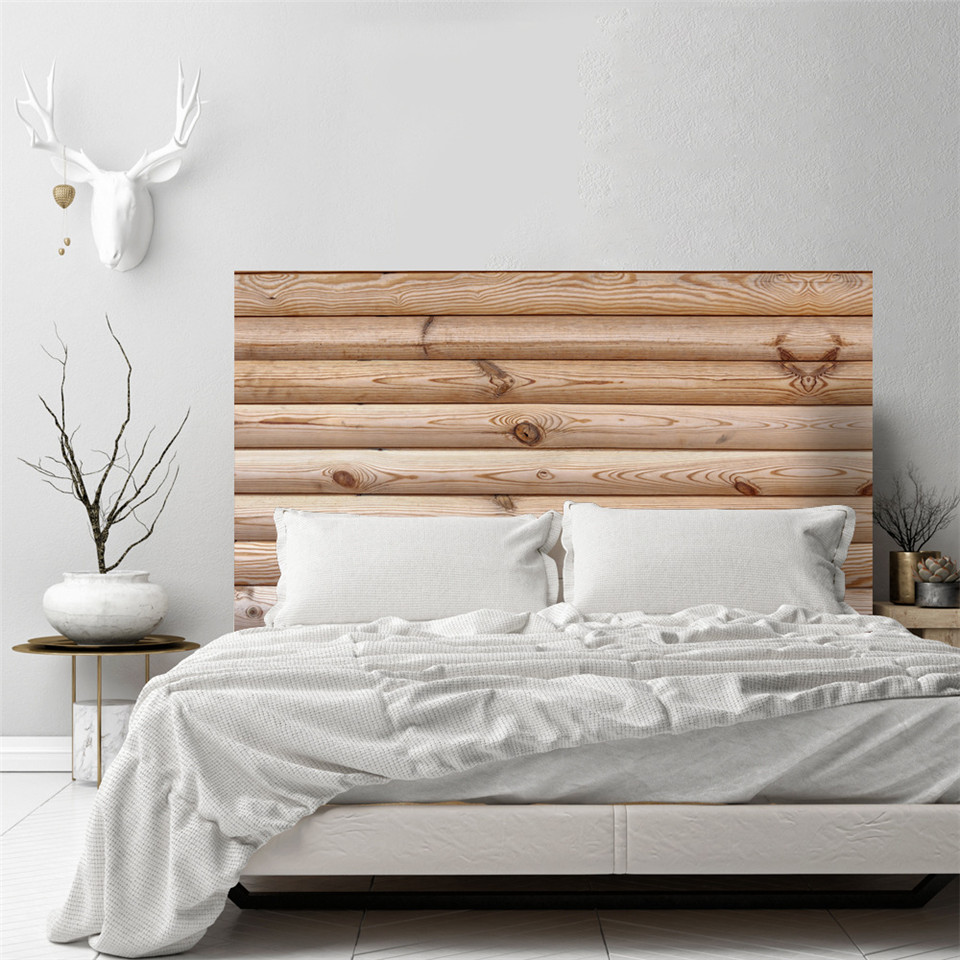 Wood Grain Headboard Stickers Self-adhesive Air-Release Waterproof Wall Sticker For Bedroom Bed Background Decor Refurbish Decal