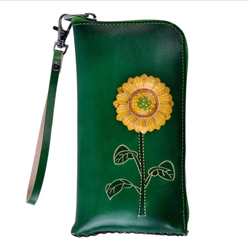 Women Wallets 2019 New Genuine Leather Flowers Girls bags Green Zipper Casual Ladies Leather Wallets in Wallets from Luggage Bags