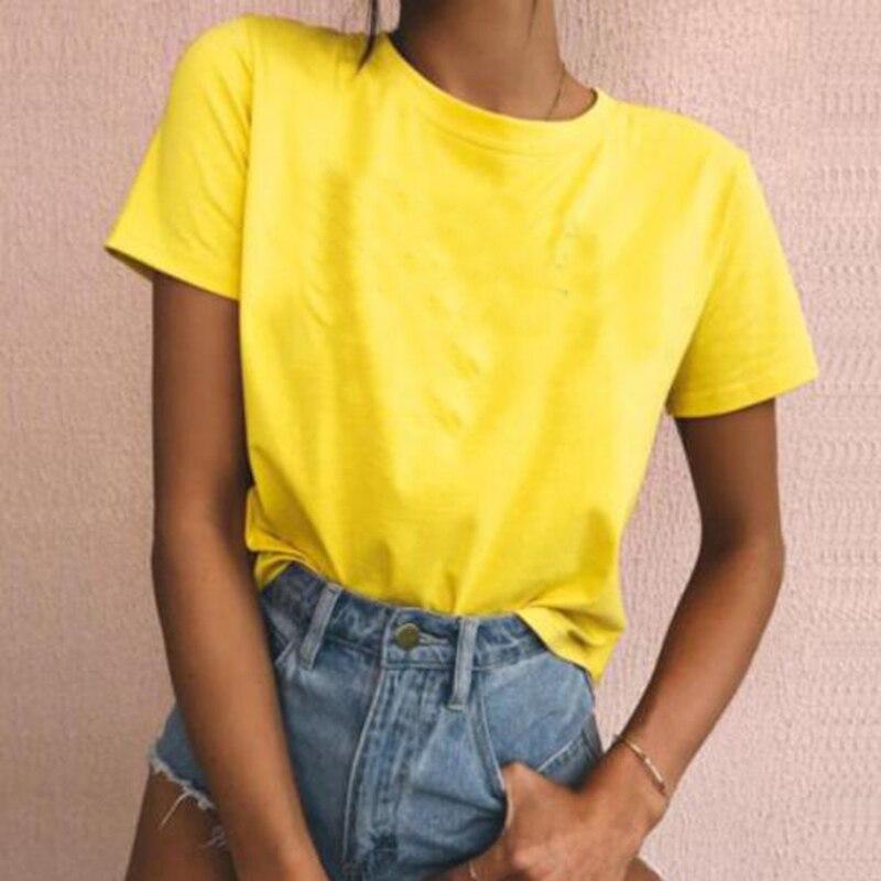 100% Cotton Yellow Plain Colored Tshirt Women Cat T Shirt White Tee Tops Womens Custom Wholesale Dropshipping Clothes