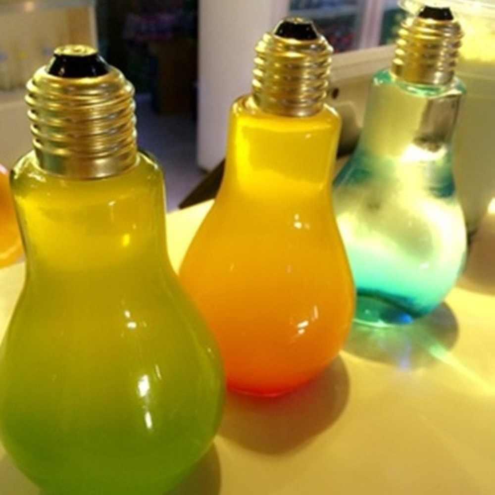 Creative Summer Ampoule Bouteille D'eau Brève Mode Mignon Lait Jus Ampoule Forme Tasse anti-Fuite Bouteille en Plastique Tasses de Fête
