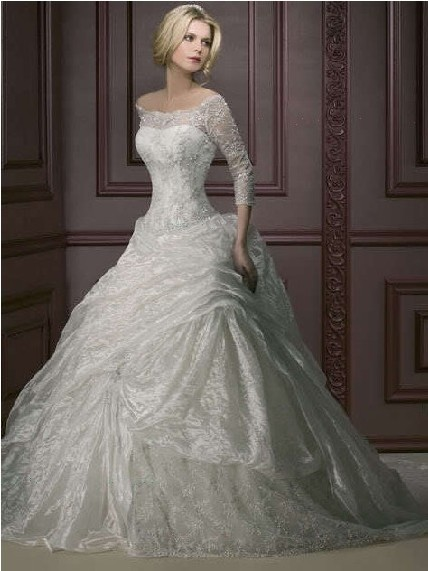 Free Shipping 2016 Transparent Long Dress White/Ivory Off-shoulder Long Sleeves Bridal Gown Custom Plus Size Wedding Dress