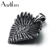 Anztilam aço inoxidável gótico folha coração pingentes colar para homens feminino punk vintage jóias presentes