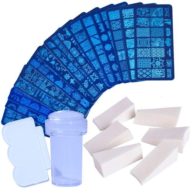 1 conjunto prego placas de carimbo geometria laço flor sonho apanhador com jelly stamper scrapper esponja manicure imagem placa ferramenta ji804