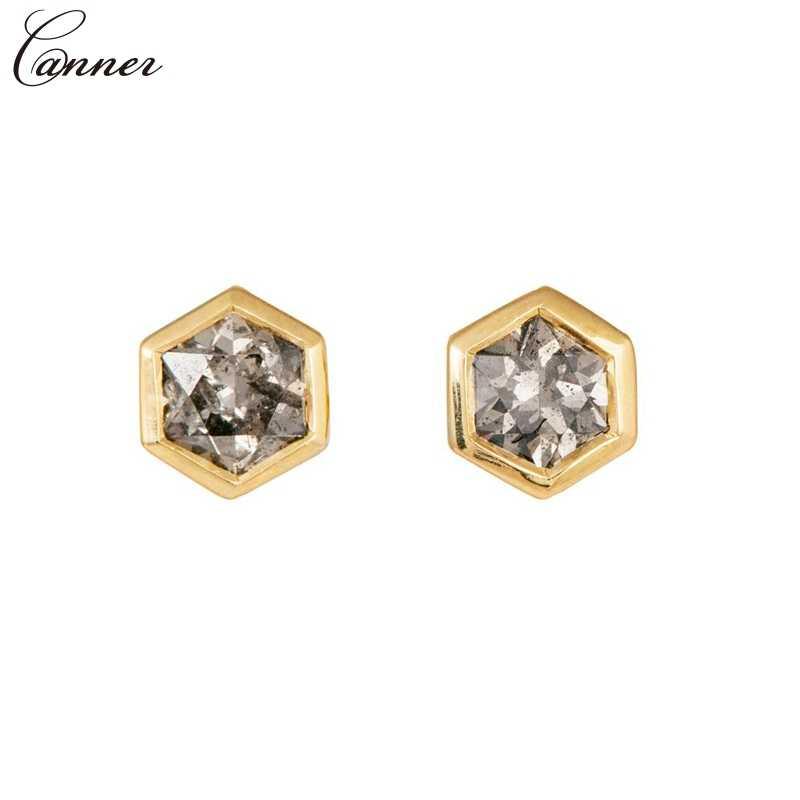CANNER oro Color Mini Stud pendientes para mujeres niñas cristal hexagonal pendientes 2019 circón geométrico triángulo joyería Q40