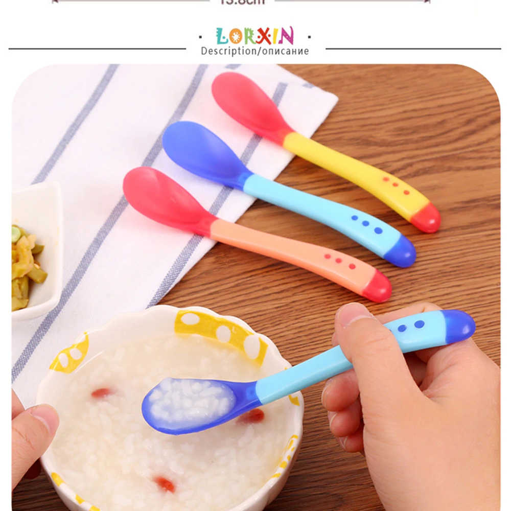 1Pcs Bebê Aprendendo Pratos Com Ventosa Auxiliar Utensílios Colher Sensor de Temperatura Colher de Bebê Talheres Bebê Tigela de Comida