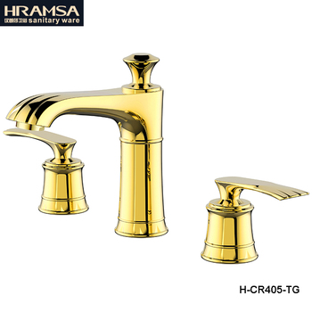 Grifo de lavabo de estilo americano, grifo de agua de dos asas dorado
