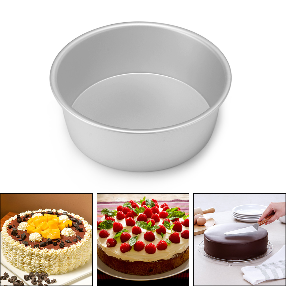 4/6/8 Inch Aluminum Alloy <font><b>Round</b></font> Cake <font><b>Baking</b></font> Mould <font><b>Pan</b></font> Tin Mold Tray Bakeware Tool High Quality <font><b>Round</b></font> Nonstick Cake <font><b>Pan</b></font> Durable image