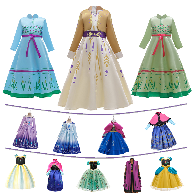 Girls Princess Anna Dress For Kids Snow Queen 2 Costume Children Dresses Carnival Birthday Party Cosplay Clothing Long Clothes
