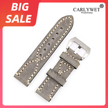 CARLYWET 20 22 24 26mm Top Thick Real Leather Watch Band For Zenith Omega Montblanc Panerai Daytona Submariner Tissot Tag Heuer