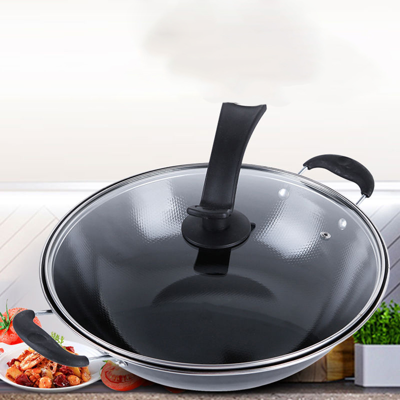 Uncoated Enamel Non-Stick Induction Wok Pan 4