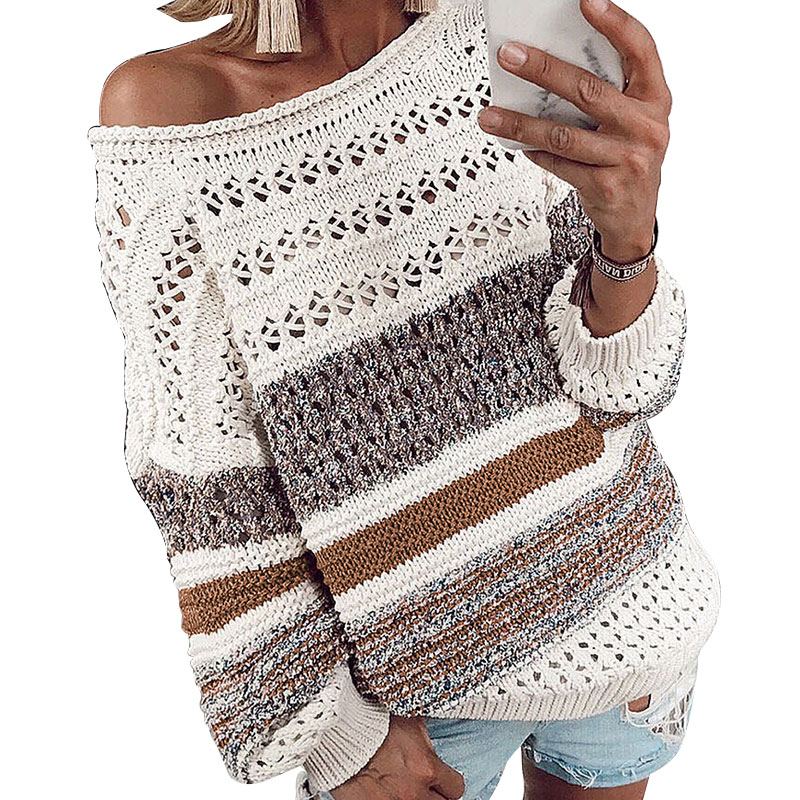 New women sweater 2019 Hollow Out Knitted Sweater Sexy Off Shoulder Striped Pullover Autumn Long Sleeve Jumper Pull Femme jersey