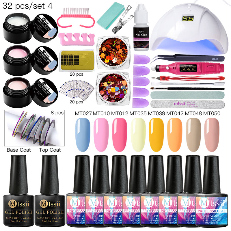 Nail Set UV LED Lamp Dryer With 8/10pcs Nail Gel Polish Kit Soak Off Manicure Tools Set Electric Nail Drill For Nail Art Tools