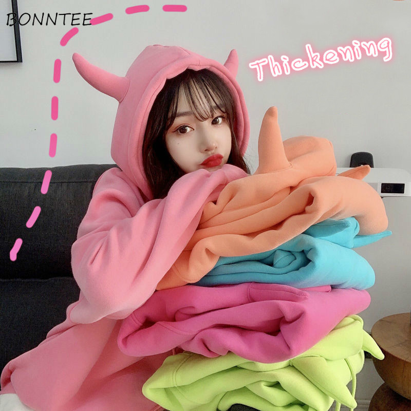 Hoodies Women Candy Color Thickening Winter Warm Korean High Quality Hooded Womens All-match Solid Stylish Pullover Harajuku