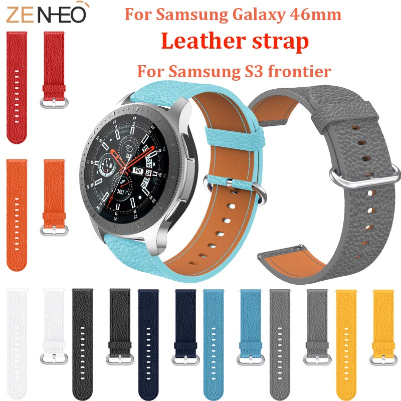 For Samsung Galaxy Watch 46mm Strap Genuine Leather Watch Band Smart Accessories Replacement For Samsung Gear S3 Wristband