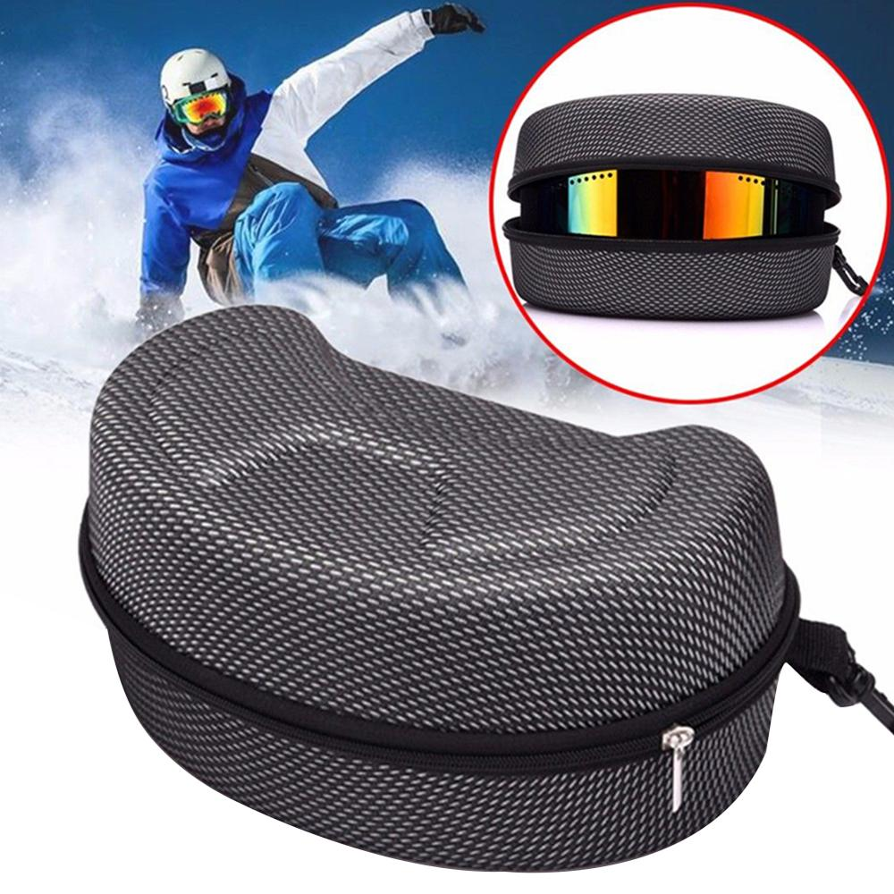 Snow Ski Eyewear Case Snowboard Skiing Goggles Sunglasses Carrying Case Zipper Hard Box Holder(Without Goggles)