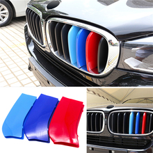 цена на For BMW X5 X6 3D Car Styling Front Grille Trim Sport Strips Cover Power Performance Stickers For BMW X5 X6 2014-2015 Accessories