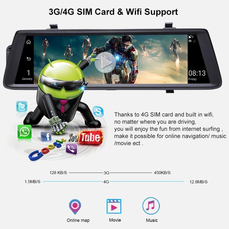Anstar 10 4G Auto DVR HD 1080P WiFi Android Video Recorder GPS Navigation ADAS Dual Objektiv Dash cam Auto Rückspiegel Kamera - 3
