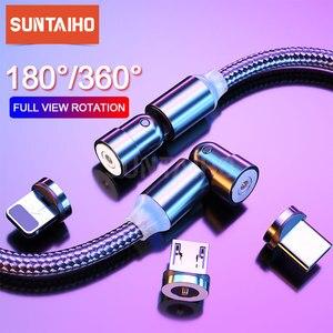 Cable magnético giratorio de 540 grados, Cable Micro USB tipo C para iPhone 11 Pro, Xiaomi, Samsung