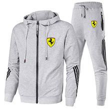 2021 new sports shirt suit zipper + pants two pieces of casual sportswear men's sportswear gym brand hip-hop suit