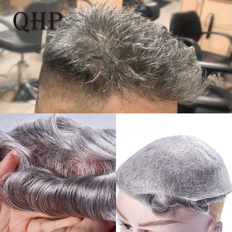 QHP Thin Skin 0.02-0.03mm Mens Toupee Pure Handmade Wig 8x10 Inch Remy Indian Human Hair Replacement Systems Mens Wig