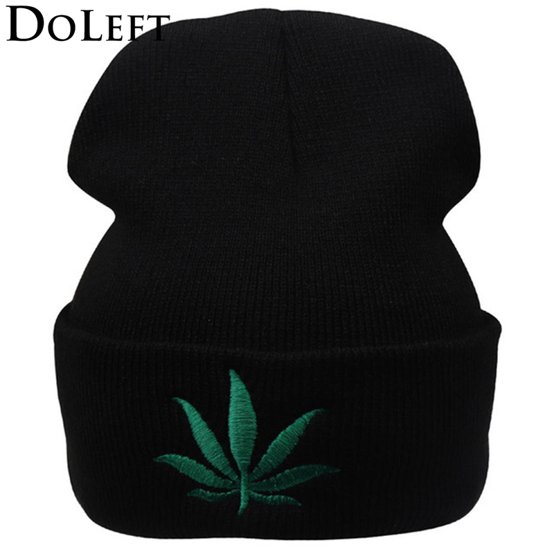 New Fashion Men Women Winter Weed Leaf Beanie Hats Warm Hip Hop Punk Knitting Winter Hat For Women Autumn Woolen Cap Skullies