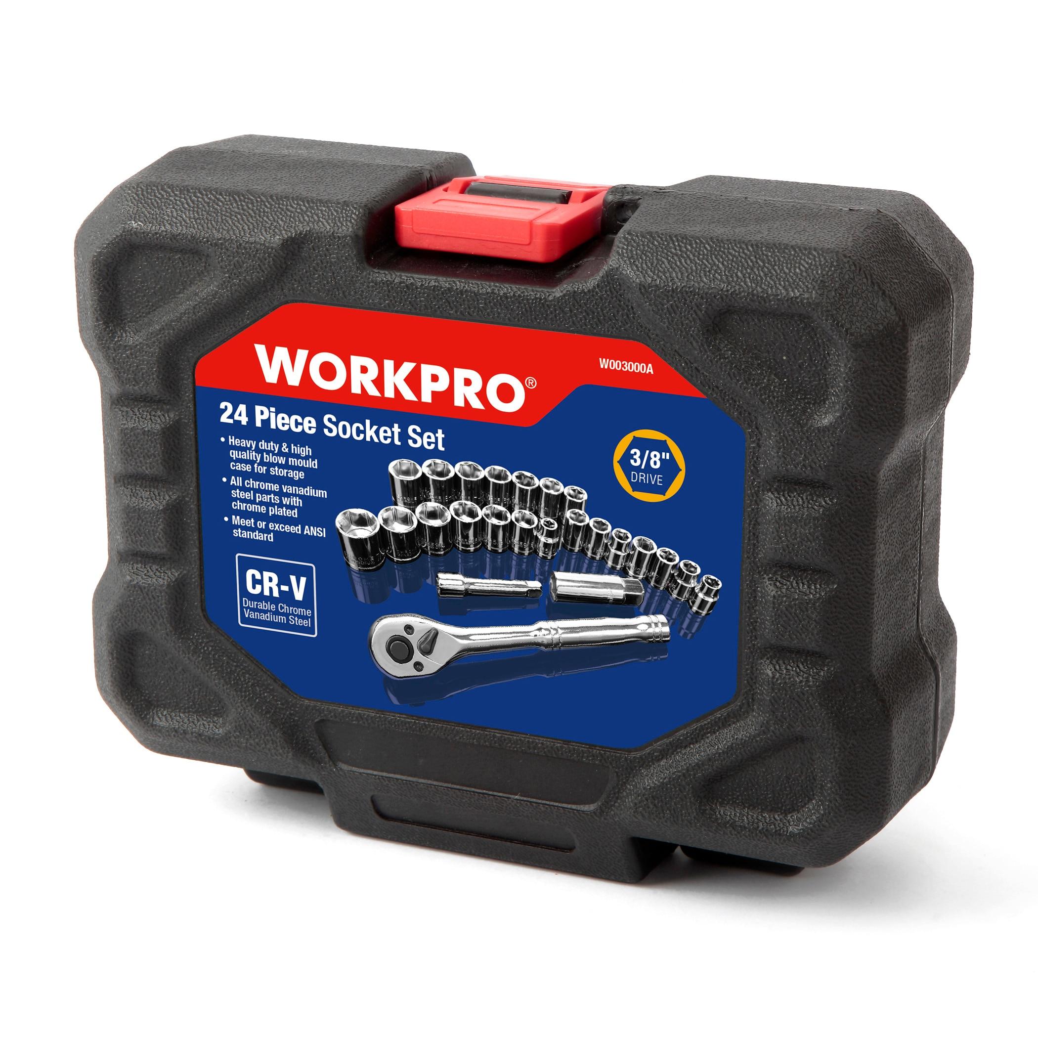 WORKPRO 24PC Tool Set Torque Wrench Socket Set 3/8″ Ratchet Wrench Socket Spanner (24Pcs)