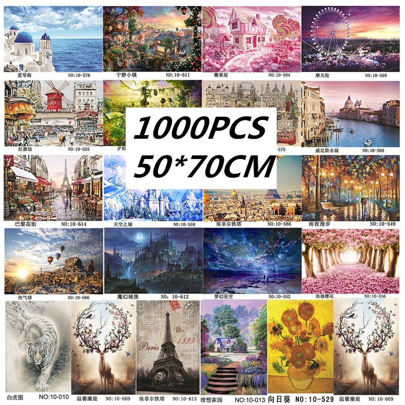 70*50cm 1000Pcs Jigsaw Puzzle Assembling Picture Landscape Puzzles Toys For Adults Kids Games Educational Toys With Case