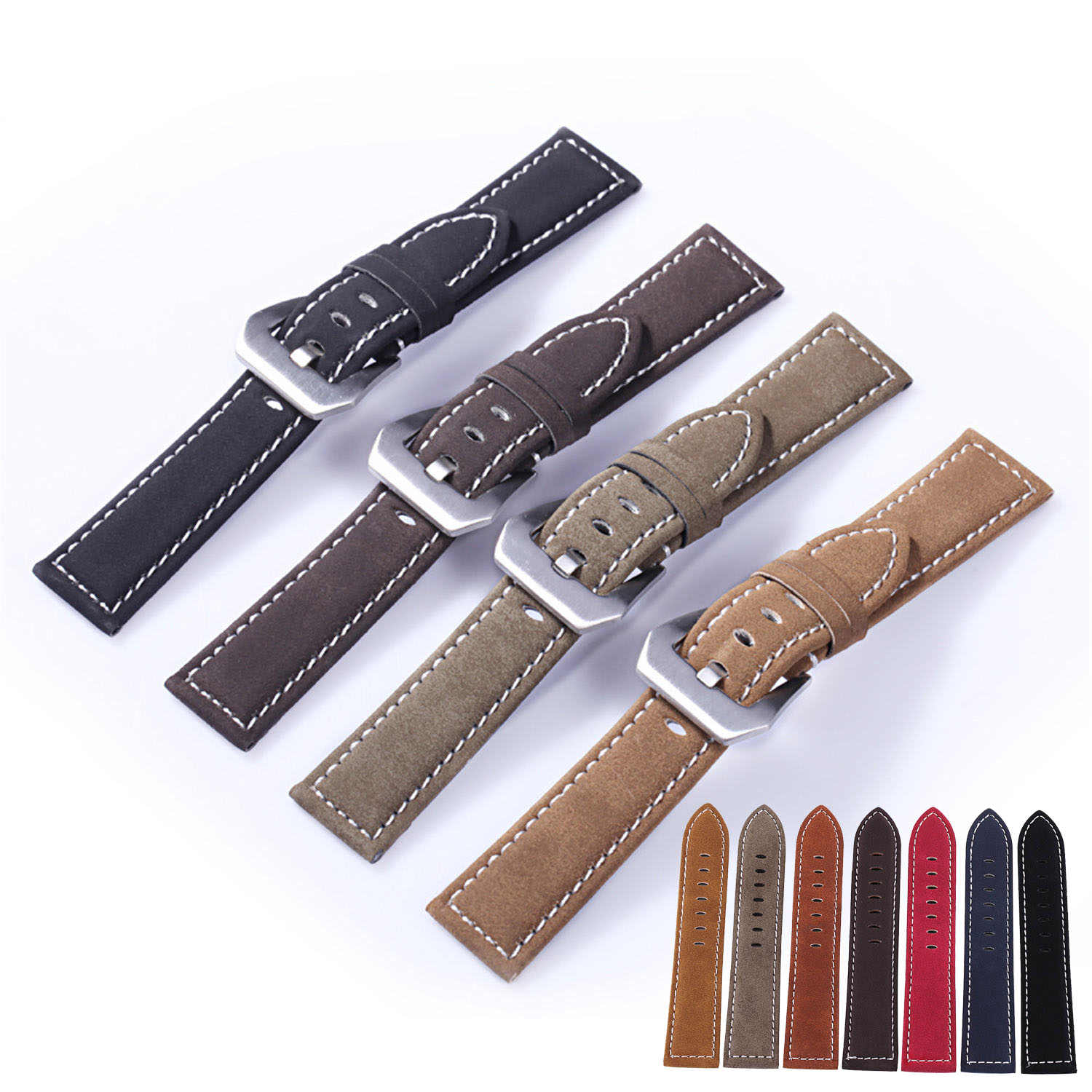 New Arrival Black Brown Coffee Olive Green Retro Genuine Watch Band Vintage Real Leather Wrist Strap Belt 18mm 20mm 22mm 24mm