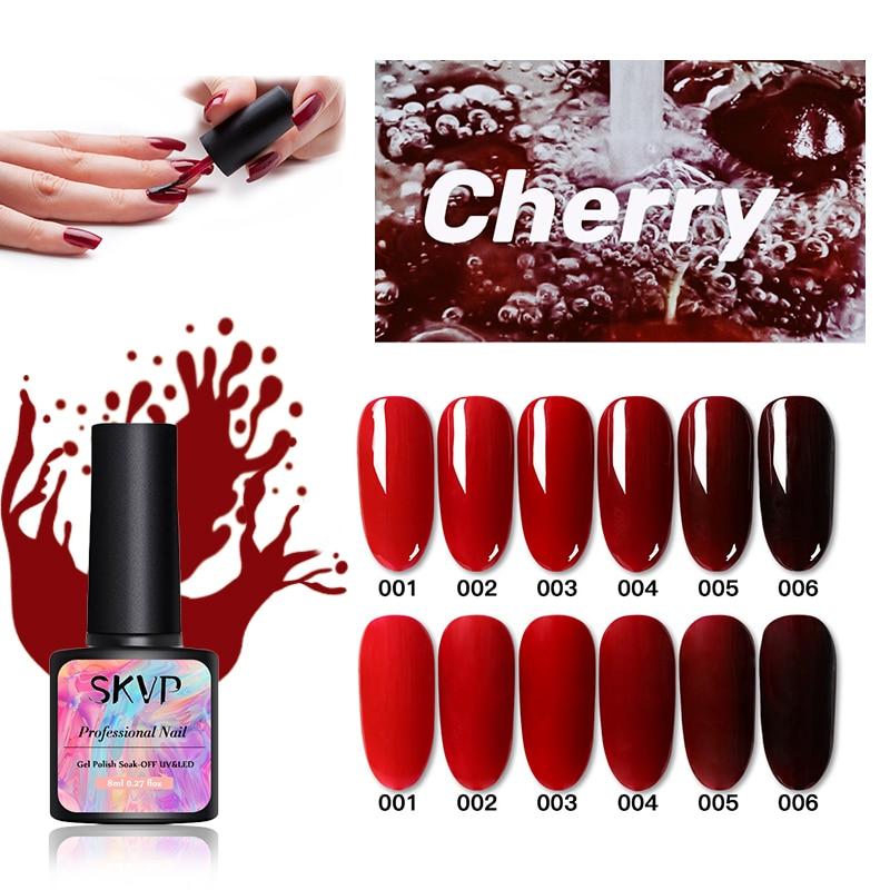 УФ-Гель-лак SKVP серии «вишнево-красный», чистые цвета, маникюрный лак «сделай сам», дизайн ногтей, Гель-лак, базовое и топовое покрытие, дизайн...
